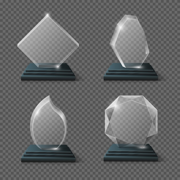 Clear glass award certificates, goals team crystal trophies stock. glossy panel award prize Premium Vector