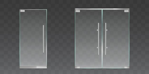 Набор прозрачных стеклянных дверей Бесплатные векторы