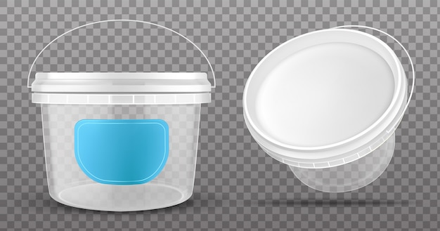 Clear plastic bucket front and top view Free Vector