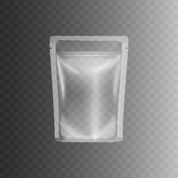 Clear transparent plastic bag Premium Vector