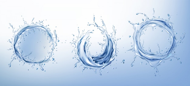 Clear water circle splashes realistic set Free Vector