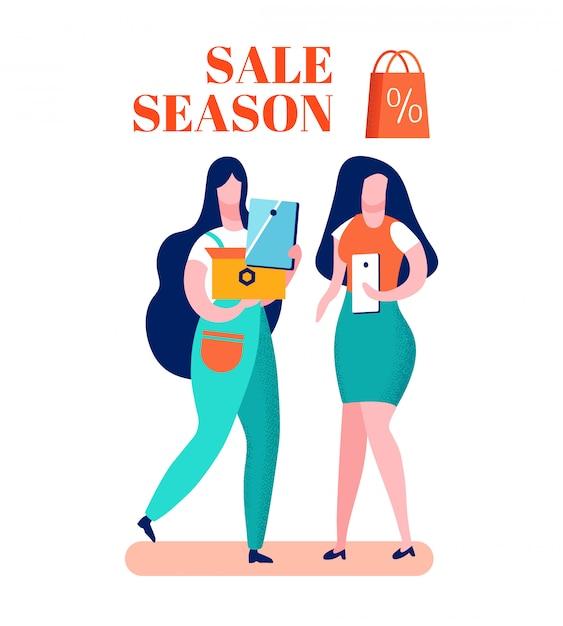 Clearance sale season cartoon vector illustration Premium Vector
