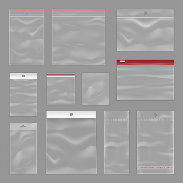 Cleartransparent zip bags realistic set Free Vector