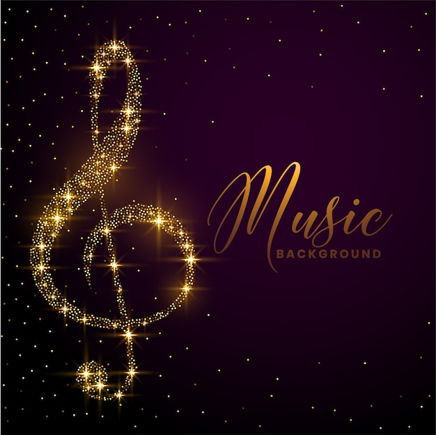 Clef note made with golden sparkle background Free Vector