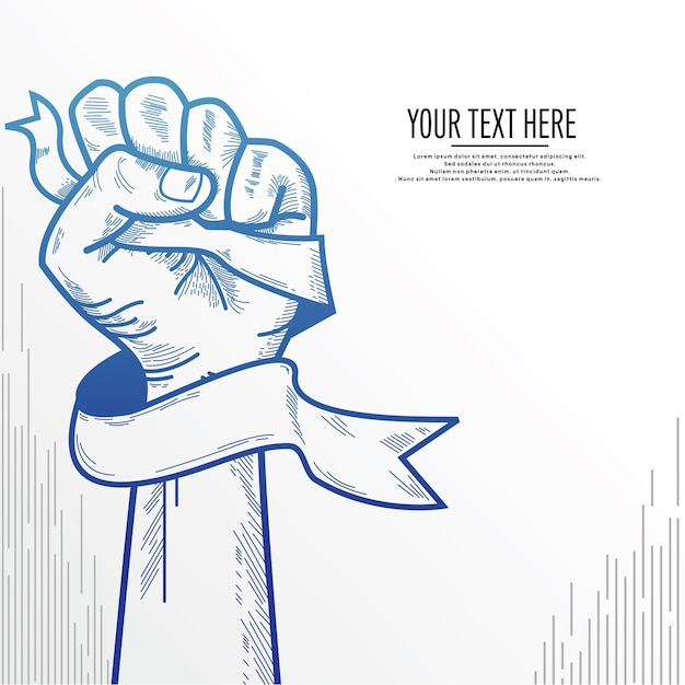 Clenched fist background Premium Vector
