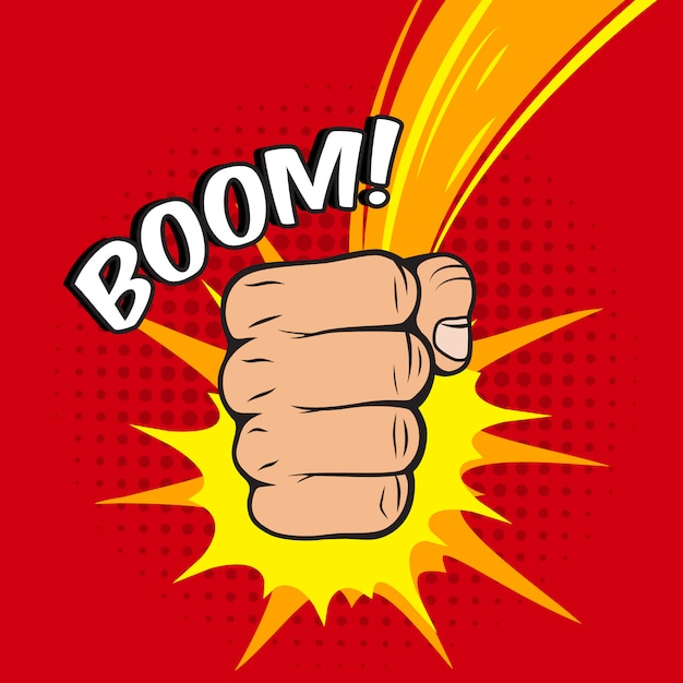 Clenched fist boom hit Free Vector