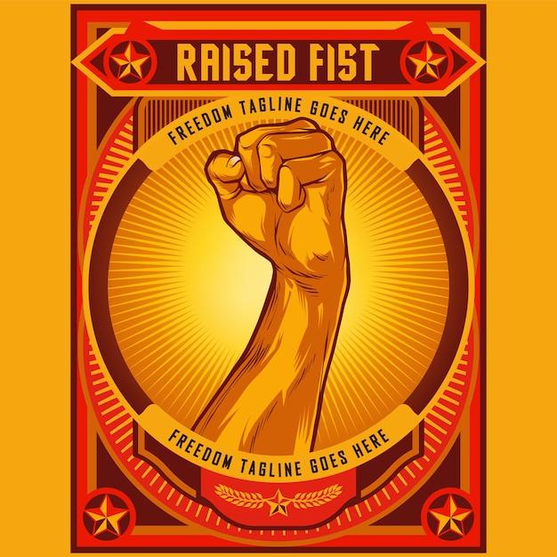 Clenched fist propaganda poster illustration Premium Vector