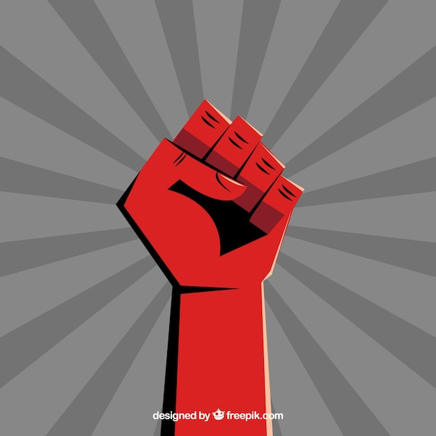 Clenched fist on radial beam Free Vector