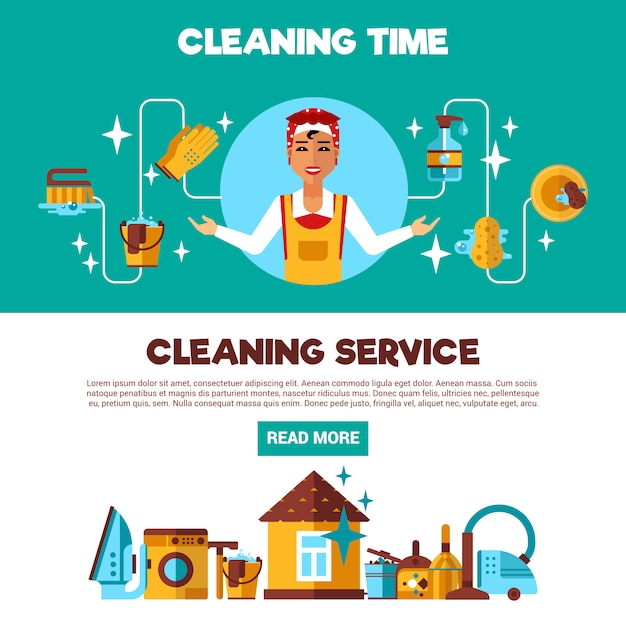 Clening service 2 flat banners set Free Vector