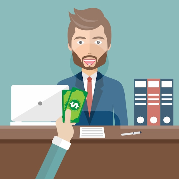 Clerk in a bank receiving money Free Vector