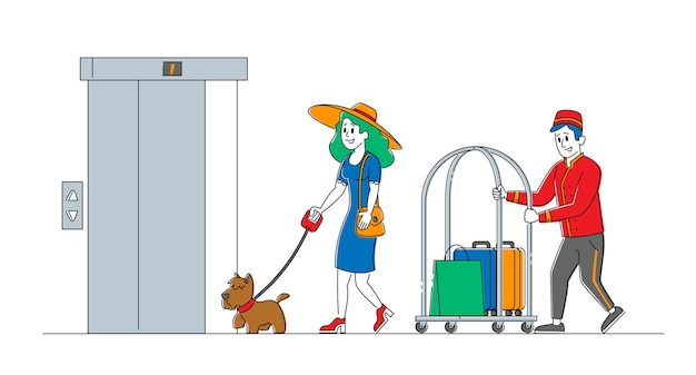 Clerk character in uniform meeting woman with dog in hotel lobby helping to carry baggage. hospitality service, tourist arrive in room. visitor, guest accommodation. linear people Premium Vector