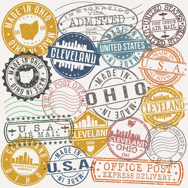Cleveland ohio set of travel and business stamp designs Premium Vector