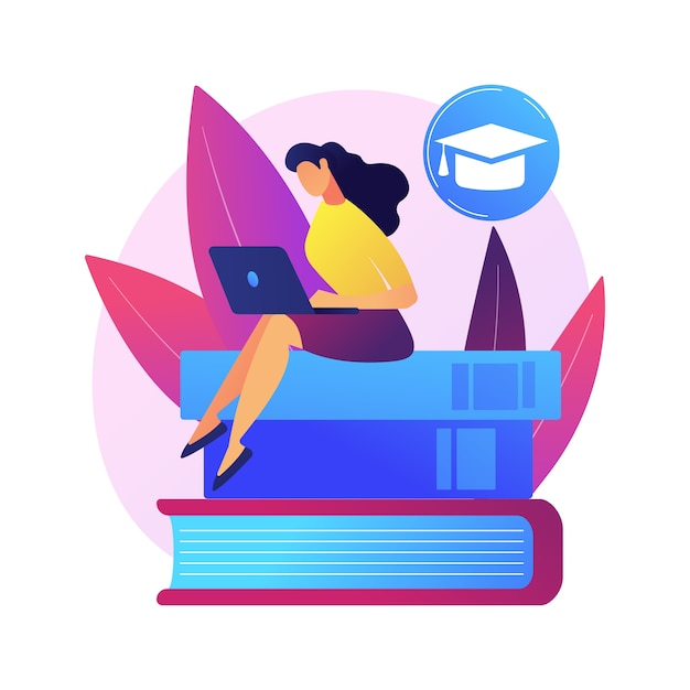 Clever man, student standing on books stack with flag. self learning, personal improvement, knowledge obtaining. educational achievement. Free Vector
