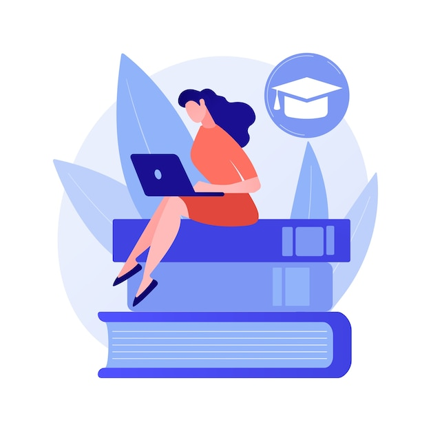 Clever man, student standing on books stack with flag. self learning, personal improvement, knowledge obtaining Free Vector