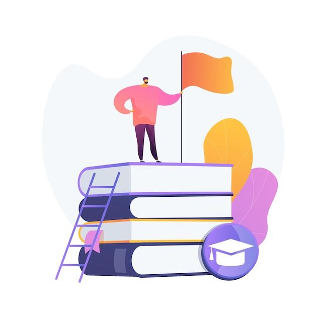 영리한 사람, 플래그와 함께 책 스택에 서있는 학생. 자기 학습, 개인 향상, 지식 획득. 교육적 성취. 무료 벡터