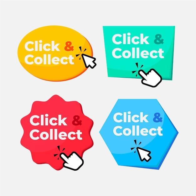 클릭 및 수집 버튼 컬렉션 무료 벡터