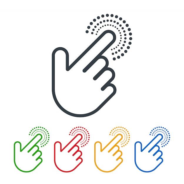 손 모양 커서가있는 아이콘 클릭 프리미엄 벡터