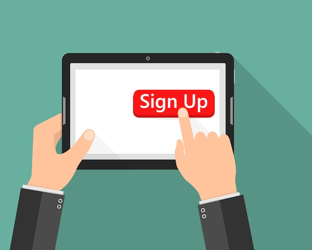Click to sign up button icon. illustration Premium Vector