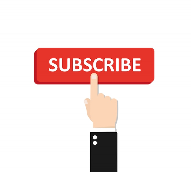 Click subscribe button with hand. Premium Vector