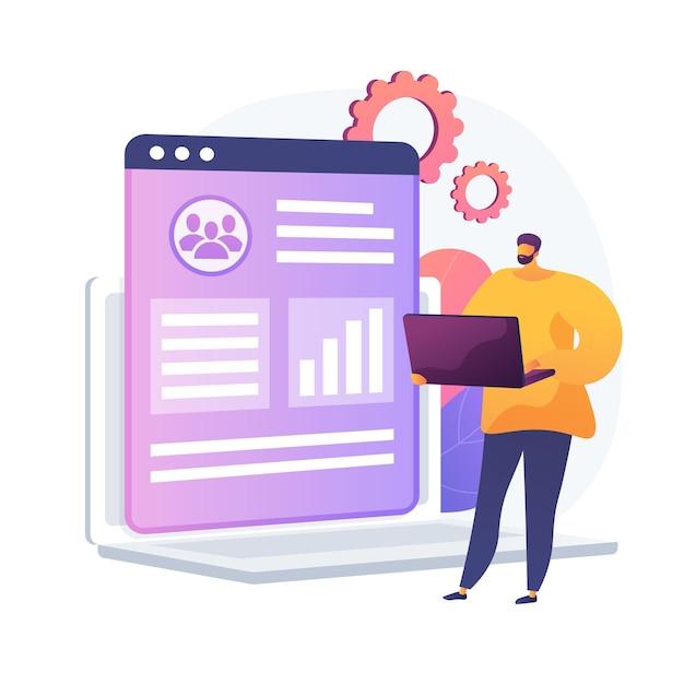 クライアントデータベース分析。マーケティング戦略、crm計画、ターゲットオーディエンス調査。エンドユーザーの好み、プロファイルを研究する専門家、アナリスト。ベクトル分離概念比喩イラスト 無料ベクター