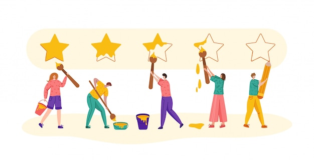Client feedback or review concept, flat modern tiny people with brushes painting huge stars Premium Vector