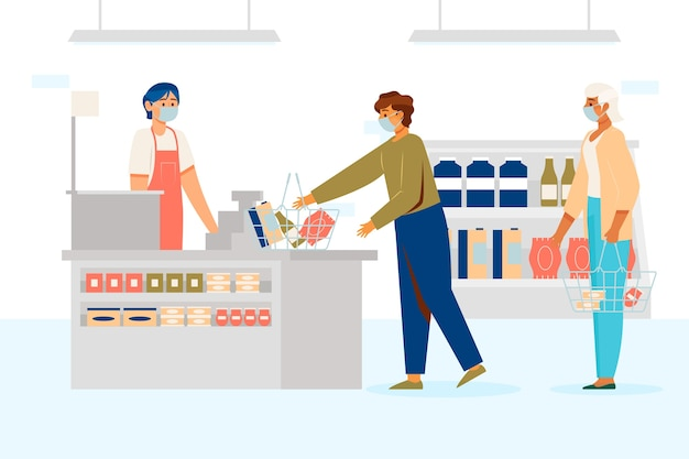 Клиенты и продавцы в медицинских масках в супермаркетах Бесплатные векторы