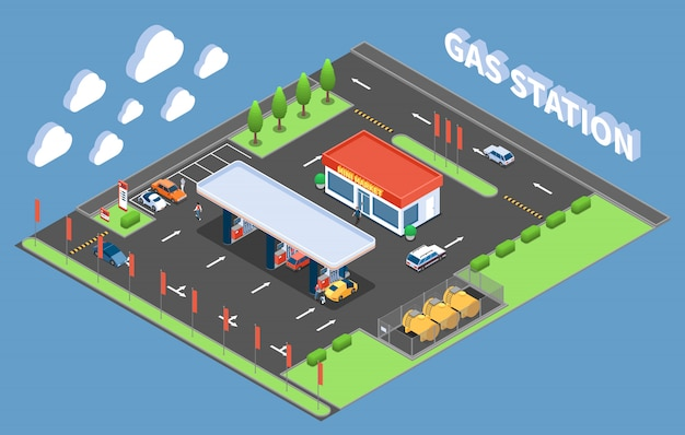 Clients at gas station with store isometric building composition vector illustration Free Vector