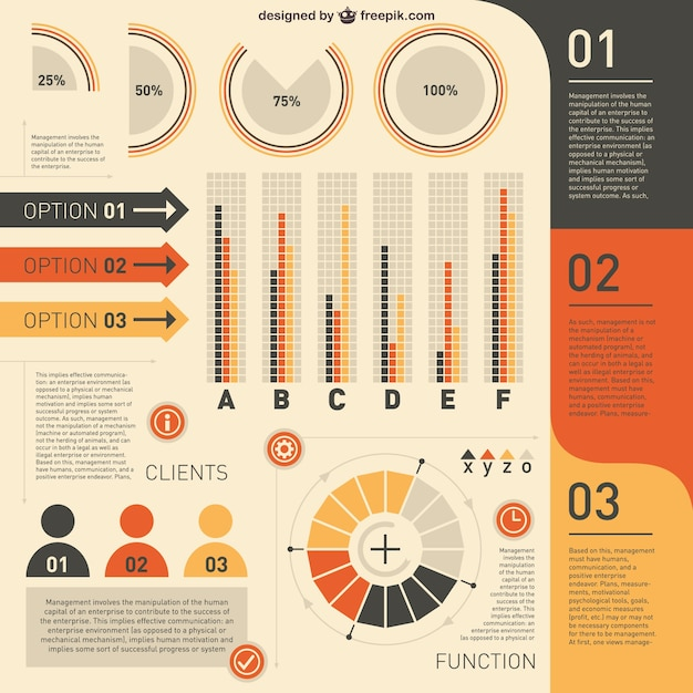 Clients infographic in yellow and orange Vector | Free Download