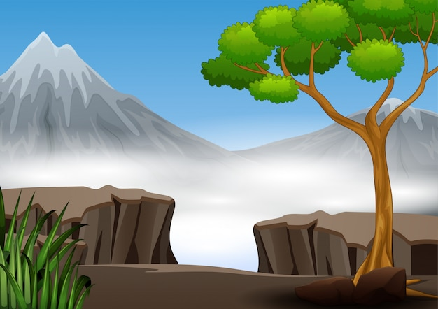 A cliff in the forest with mountain view nature landscape Premium Vector