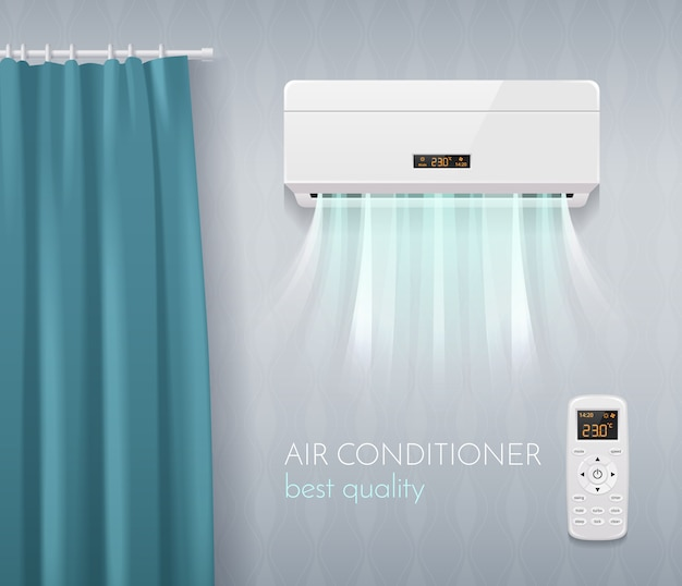 Climate control poster with air conditioning technology symbols realistic  illustration Free Vector