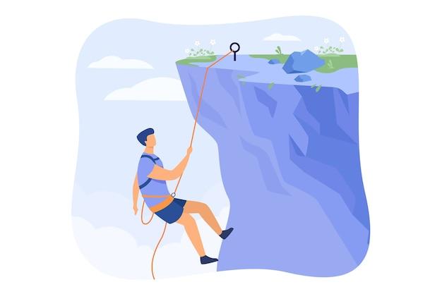 Scalatore che appende sulla corda e che si tira in cima alla parete rocciosa della montagna. alpinista estremo arrampicata sulla scogliera. per lo sport, l'attività all'aperto, il rischio, il concetto di alpinista Vettore gratuito