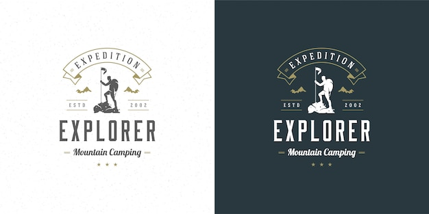 Альпинист логотип эмблема открытый приключение экспедиция векторная иллюстрация альпинист человек силуэт Premium векторы