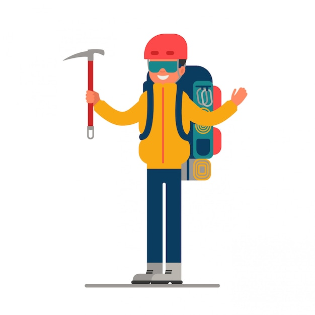 Climber with ice axe in hand and backpack Premium Vector