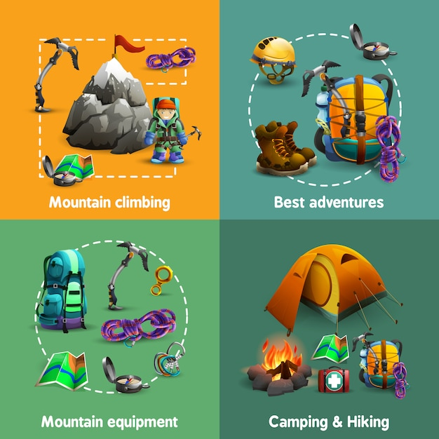 Climbing 4 3d icons square  banner Free Vector