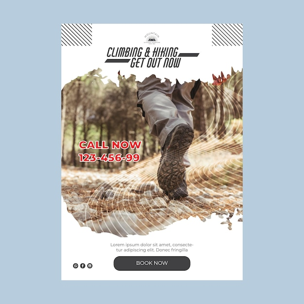 Climbing a5 flyer template with photo Free Vector