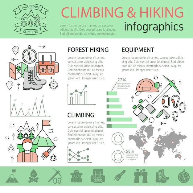 登山やハイキングの線形インフォグラフィック 無料ベクター