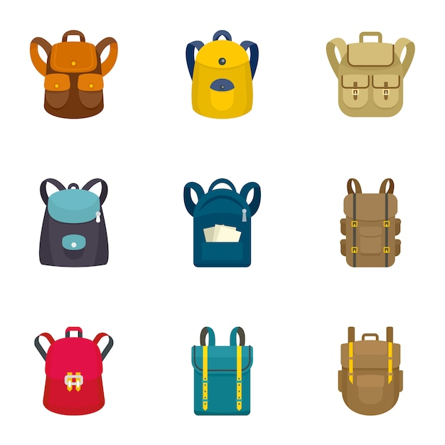 Climbing backpack icon set, flat style Premium Vector