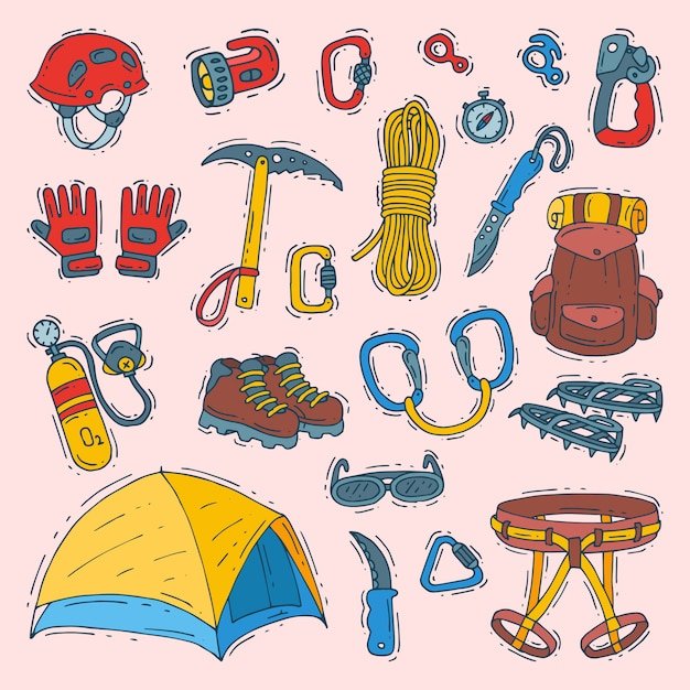 Climbing  climbers equipment helmet carabiner and axe to climb in mountains illustration sot of mountaineering or alpinism tools for mountaineers isolated Premium Vector