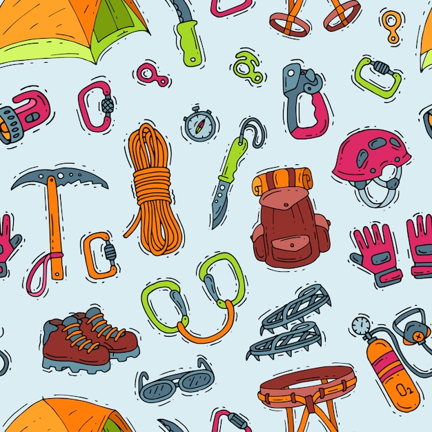 Climbing  climbers equipment helmet carabiner and axe to climb in mountains illustration sot of mountaineering or alpinism tools for mountaineers seamless pattern background Premium Vector