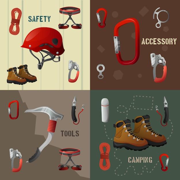 Climbing concept flat  icons banner Premium Vector