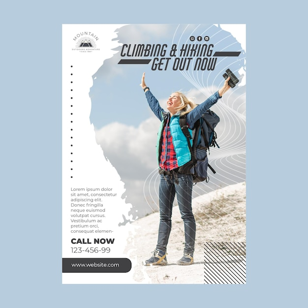 Climbing flyer template with photo Free Vector