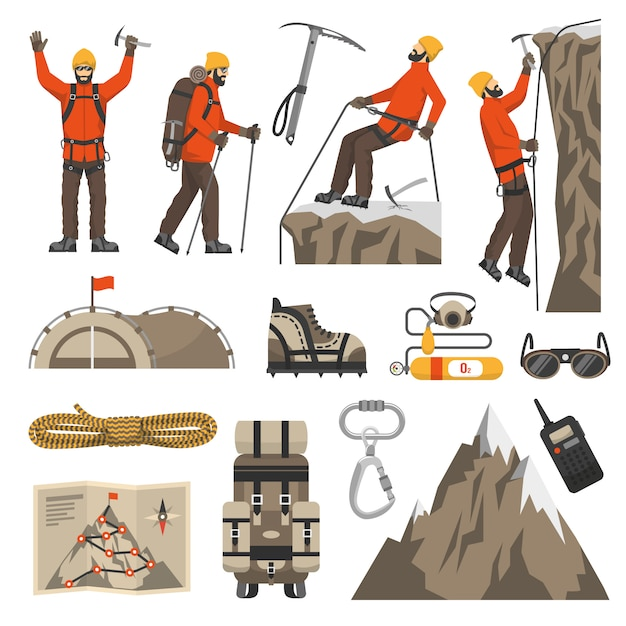 Climbing hiking mountaineering icons Vector | Free Download