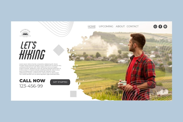 Climbing home page template with photo Free Vector