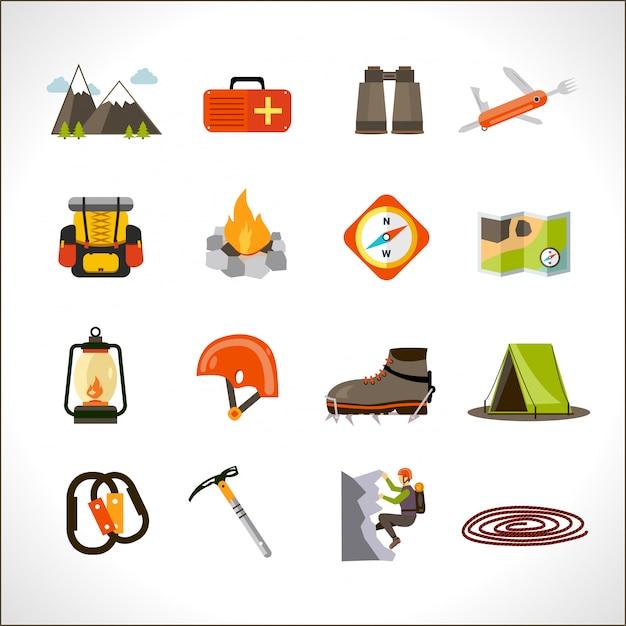 Climbing icons set Free Vector