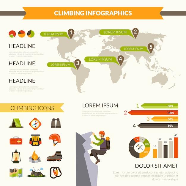 Climbing infographics set Free Vector