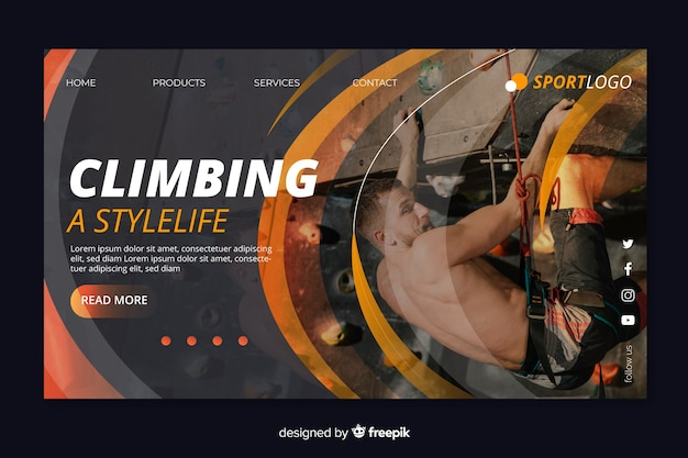 Climbing sport landing page Free Vector
