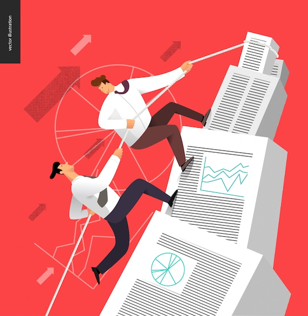 Climbing up in a stack of accounting documents Premium Vector