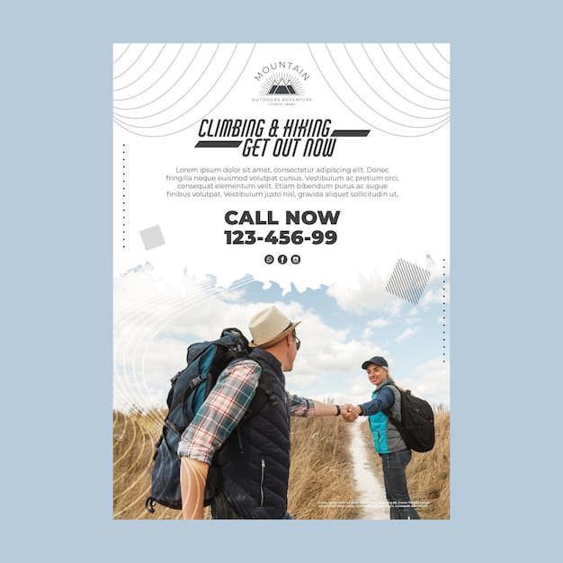Climbing vertical poster template with photo Free Vector