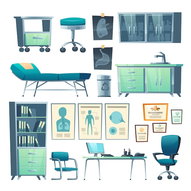 Clinic interior doctor stuff isolated hospital set Free Vector