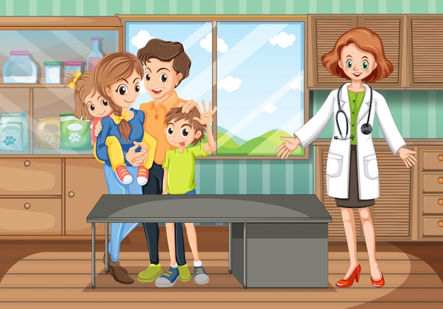 Clinic scene with doctor and family Free Vector